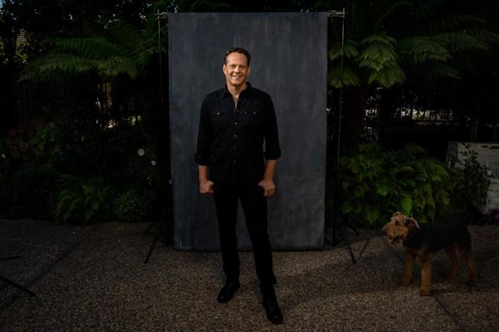 """MANHATTAN BEACH, CA - OCTOBER 27: Actor Vince Vaughn is photographed in the front yard, of his Manhattan Beach, CA, home, in promotion of his new film, """"Freaky,"""" on Tuesday, Oct. 27, 2020. A play on the classic """"Freaky Friday,"""" a cursed knife leaves Vaughn's serial killer character switching bodies with a teenage girl. (Jay L. Clendenin / Los Angeles Times)"""