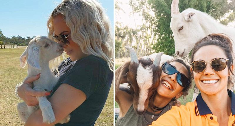 Kate Eleena (left) and farm volunteers are worried about the future of the animals. Source: Supplied