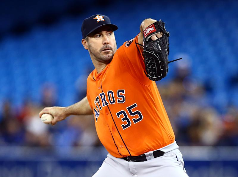 TORONTO, ON - SEPTEMBER 01: Justin Verlander #35 of the Houston Astros delivers a pitch in the first inning during a MLB game against the Toronto Blue Jays at Rogers Centre on September 01, 2019 in Toronto, Canada. (Photo by Vaughn Ridley/Getty Images)