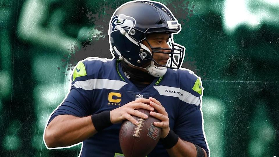Russell Wilson treated image green background with white outline