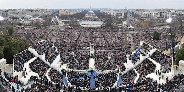 A panoramic view of US President Donald Trump's Inauguration on January 20, 2017 at the US Capitol (AFP Photo/Ricky Carioti)