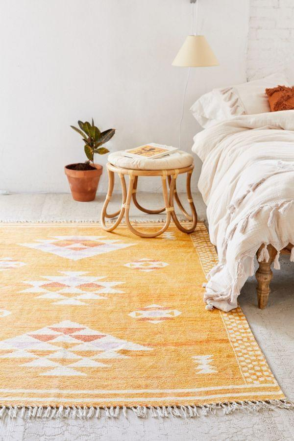 "<p>Make any area of your apartment pop with the vibrant honey hues of this cotton-chenille weave.</p><br><br><strong>Urban Outfitters</strong> Sabira Printed Chenille Rug (5X7), $189, available at <a href=""https://www.urbanoutfitters.com/shop/sabira-printed-chenille-rug"" rel=""nofollow noopener"" target=""_blank"" data-ylk=""slk:Urban Outfitters"" class=""link rapid-noclick-resp"">Urban Outfitters</a>"
