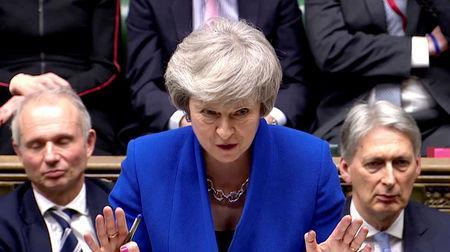 British Prime Minister Theresa May gestures as she speaks during a no confidence debate after Parliament rejected her Brexit deal, in London, Britain, January 16, 2019, in this screen grab taken from video. Reuters TV via REUTERS