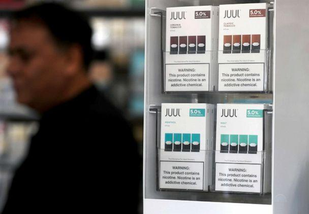 PHOTO: Packages of Juul mint flavored e-cigarettes are displayed at San Rafael Smokeshop on Nov. 7, 2019, in San Rafael, Calif. (Justin Sullivan/Getty Images, FILE)