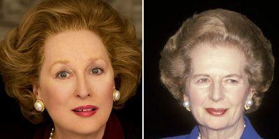 Meryl Streep in 'The Iron Lady' (L) vs. the real Margaret Thatcher (R).