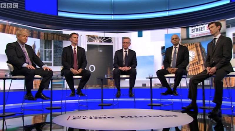 The five remaining contenders went head-to-head on Tuesday night (BBC)