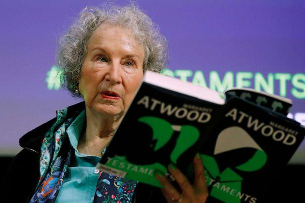 PHOTO: Canadian author Margaret Atwood holds a copy of her book 'The Testaments,' during a news conference in London, Sept. 10, 2019. (Alastair Grant/AP, FILE)