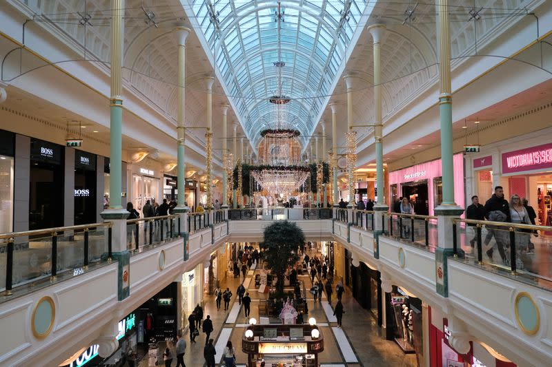 A general view shows the Trafford Centre shopping centre in Manchester