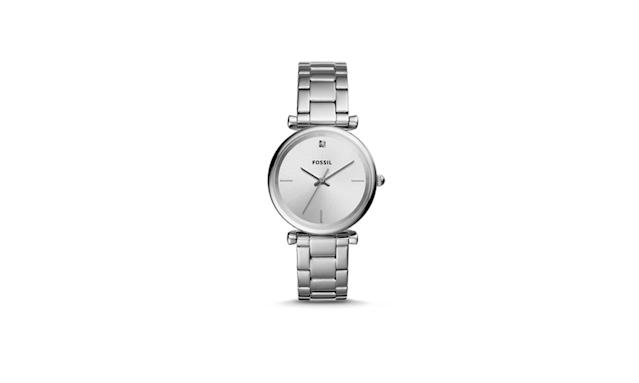 "<p>Scarlette Multifunction Stainless Steel Watch, $125, <a href=""https://www.fossil.com/us/en/products/scarlette-multifunction-stainless-steel-watch-sku-es4314p.html"" rel=""nofollow noopener"" target=""_blank"" data-ylk=""slk:fossil.com"" class=""link rapid-noclick-resp"">fossil.com</a> </p>"