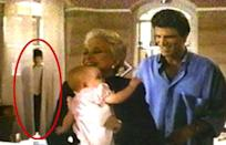 """<p>Once you see him, you can't un-see him. The kid spotted behind a set of curtains in the 1987 comedy inspired urban legends claiming he was a ghost. Alas, it turns out the eerie image was <a href=""""http://www.snopes.com/movies/films/3menbaby.asp"""" rel=""""nofollow noopener"""" target=""""_blank"""" data-ylk=""""slk:a cardboard cutout of Ted Danson"""" class=""""link rapid-noclick-resp"""">a cardboard cutout of Ted Danson</a>. (Photo: Buena Vista)</p>"""