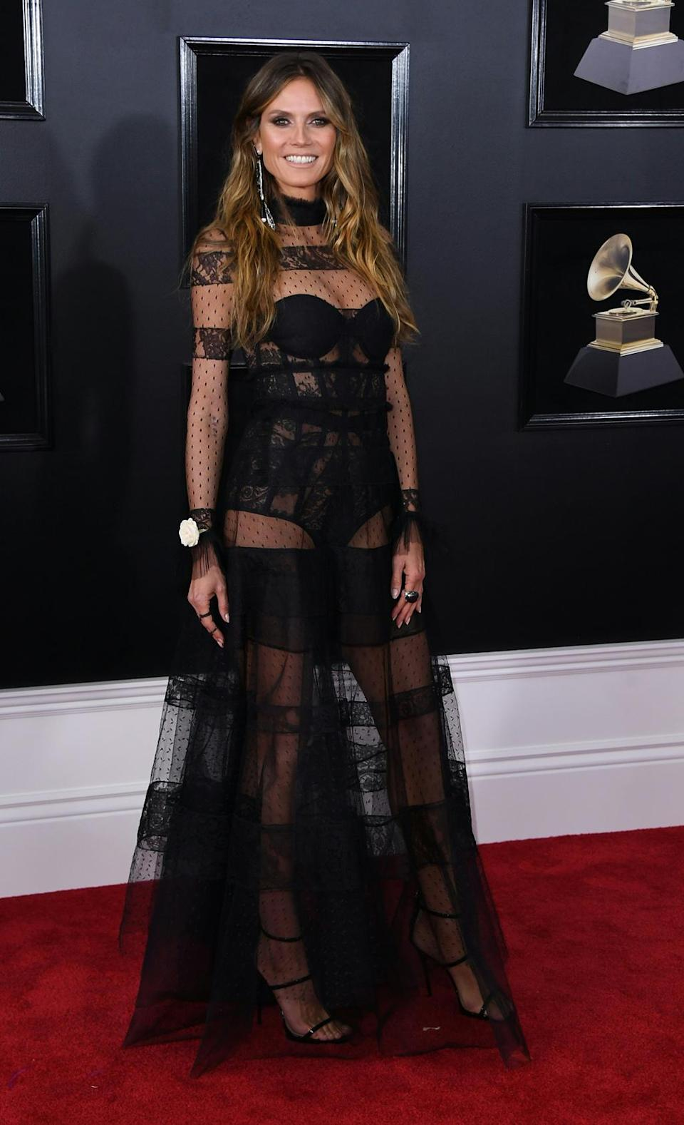 Glamorous and sexy, Heidi Klum opted for a see-through lace ensemble by Ashi Studio. New York, January 28, 2018.