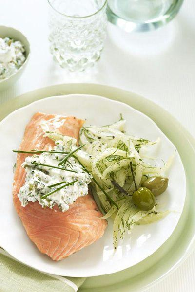 """<p>Pretend like you're at a five-star restaurant and serve this elegant salmon with a glass of chilled rosé. </p><p><a href=""""https://www.goodhousekeeping.com/food-recipes/a10324/chilled-salmon-green-olive-sauce-recipe-ghk0810/"""" rel=""""nofollow noopener"""" target=""""_blank"""" data-ylk=""""slk:Get the recipe for Chilled Salmon with Green Olive Sauce »"""" class=""""link rapid-noclick-resp""""><em>Get the recipe for Chilled Salmon with Green Olive Sauce »</em></a></p>"""