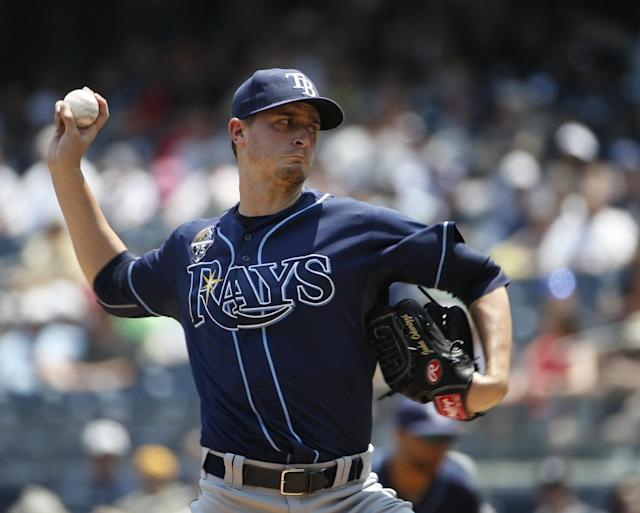 Tampa Bay Rays starting pitcher Jake Odorizzi delivers in the first inning of a baseball game against the New York Yankees at Yankee Stadium in New York, Wednesday, July 2, 2014. (AP Photo/Kathy Willens)