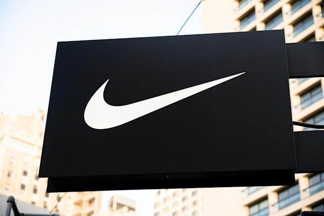 American multinational sportswear manufacturer Nike logo seen at one of their stores. (Photo by Alex Tai/SOPA Images/LightRocket via Getty Images)