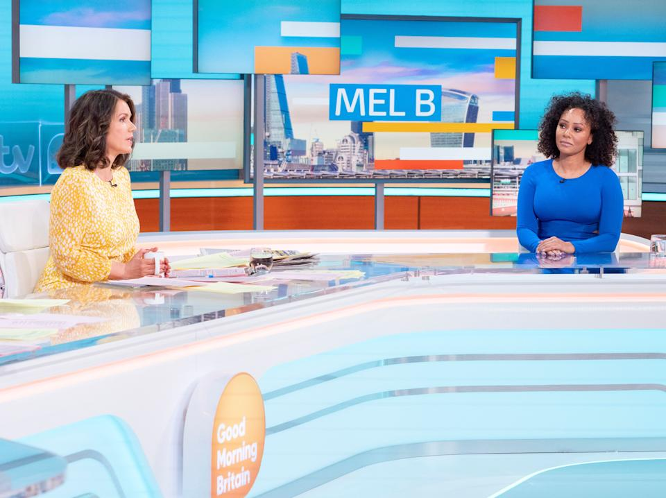 Editorial use only Mandatory Credit: Photo by Ken McKay/ITV/Shutterstock (11907184l) Susanna Reid and Melanie Brown 'Good Morning Britain' TV Show, London, UK - 17 May 2021