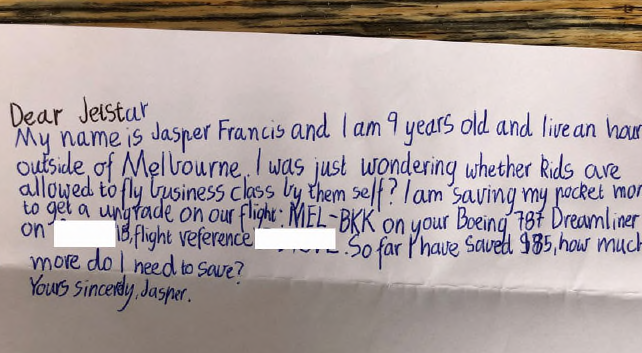 Jasper's note to Jetstar managed to score him a free upgrade to business class. Photo: Supplied