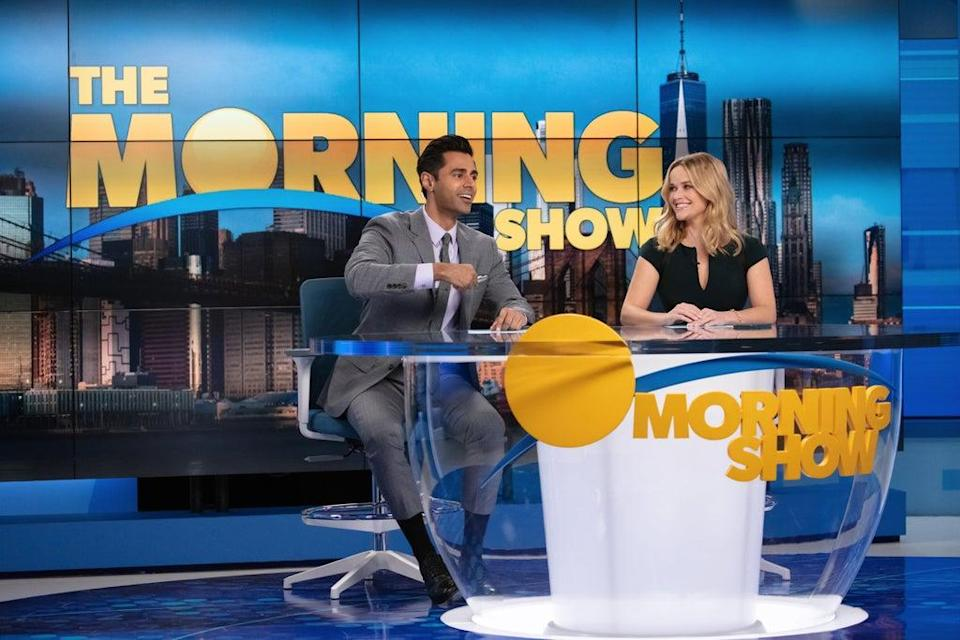 Undated Handout Photo from The Morning Show. Pictured: Hasan Minhaj as Eric, Reese Witherspoon as Bradley Jackson. See PA Feature SHOWBIZ TV The Morning Show. Picture credit should read: PA Photo/Courtesy of Apple TV+. WARNING: This picture must only be used to accompany PA Feature SHOWBIZ TV The Morning Show.