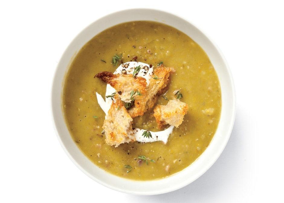 "If you want to make this soup but you don't have a ham bone, use two ham hocks instead. <a href=""https://www.bonappetit.com/recipe/split-pea-soup?mbid=synd_yahoo_rss"" rel=""nofollow noopener"" target=""_blank"" data-ylk=""slk:See recipe."" class=""link rapid-noclick-resp"">See recipe.</a>"