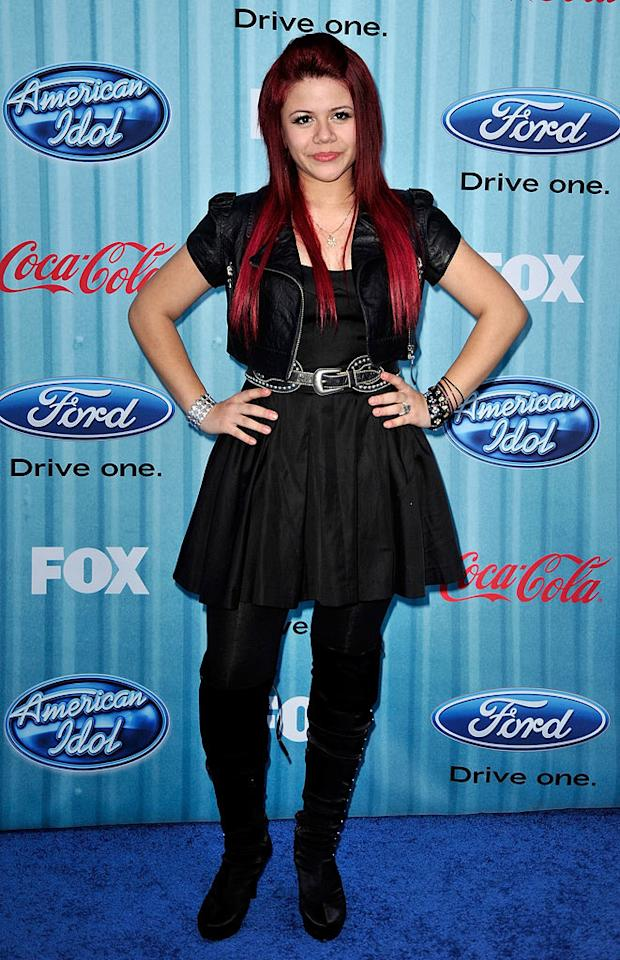 "Finalist <a href=""/allison-iraheta/contributor/2461054"">Allison Iraheta</a> arrives at the <a href=""/american-idol/show/34934"">""American Idol""</a> Top 13 Party held at AREA nightclub on March 5, 2009 in Los Angeles, California."
