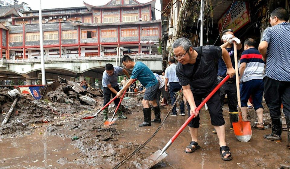 A clean-up operation in the city of Bazhong. Photo: Handout