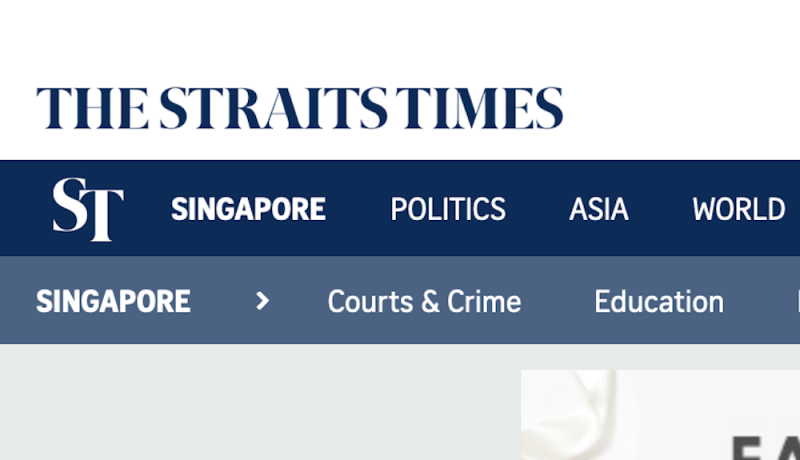 (SCREENSHOT: Website of The Straits Times, one of the newspapers published by Singapore Press Holdings)