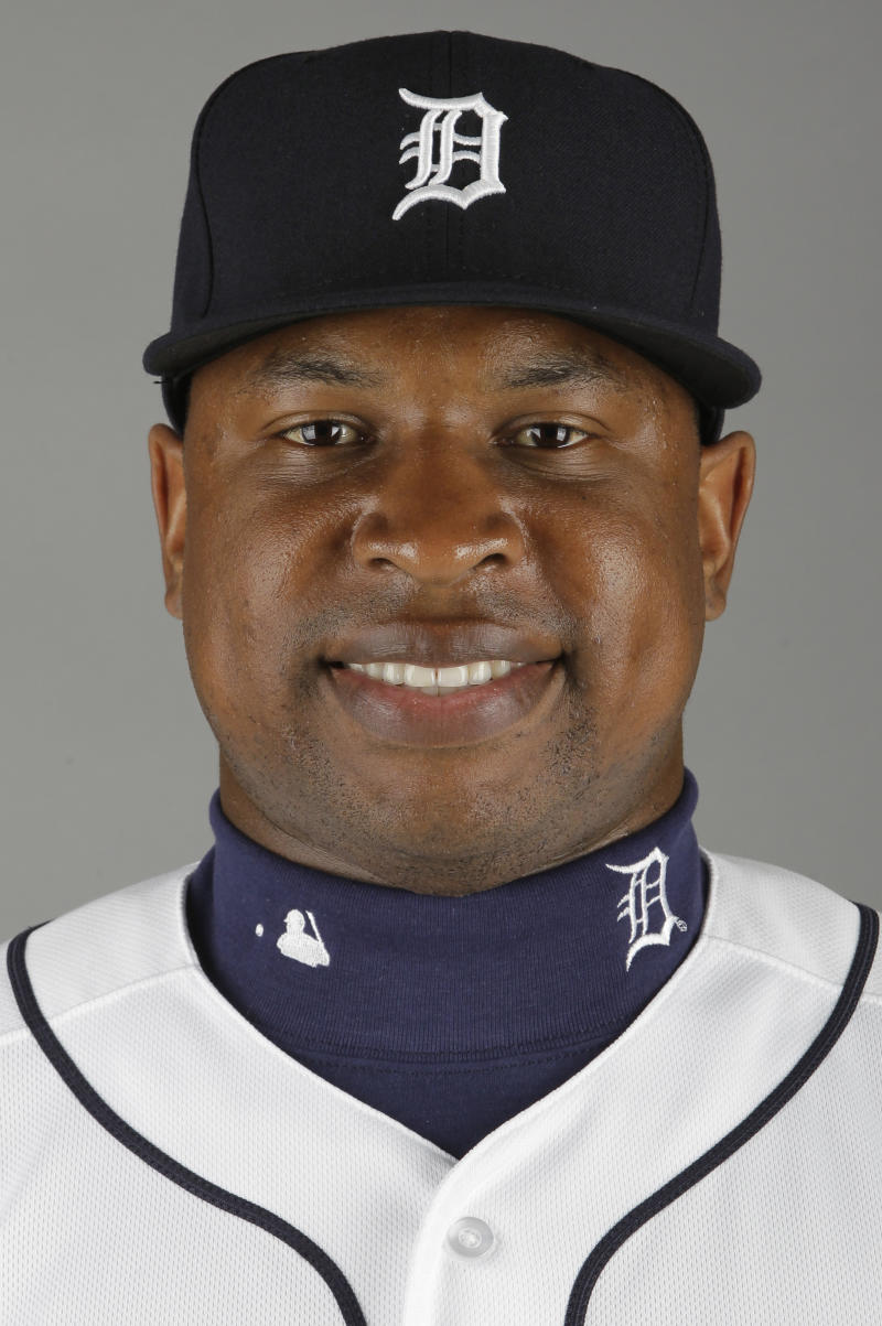 FILE - This is a 2012 photo of Delmon Young of the Detroit Tigers baseball team during spring training in Lakeland, Fla. Young was arrested Friday, April 27, 2012 in New York, on a hate crime harassment charge after police said he got into a fight with a group of men and yelled anti-Semitic epithets.  (AP Photo/Jeff Roberson, File)