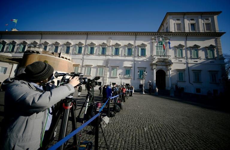 Journalists wait for the arrival of Conte at the Presidential Quirinale Palace in Rome for a meeting with President Sergio Mattarella