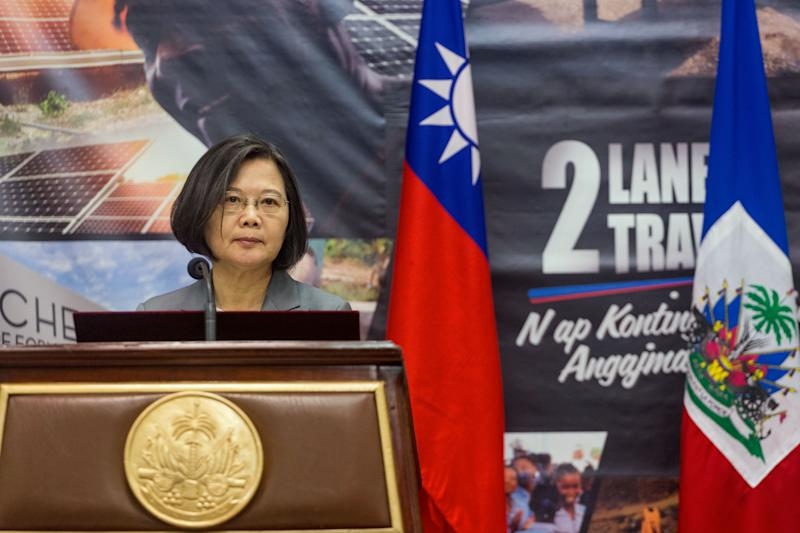Taiwan's President Tsai Ing-Wen delivers a speech during the inauguration of the Taiwan Fair in Port-au-Prince on July 13, 2019. - Taiwan President Tsai Ing-wen's choice of Port-au-Prince as the first stop in her Caribbean tour is highly symbolic of the diplomatic power struggle being played out in the region. Last year, the neighboring Dominican Republic dropped Taipei and threw in its diplomatic lot with Beijing, leaving Haiti as one of only 17 countries still officially recognizing Taiwan as a country. (Photo by Pierre Michel JEAN / AFP) (Photo credit should read PIERRE MICHEL JEAN/AFP/Getty Images)
