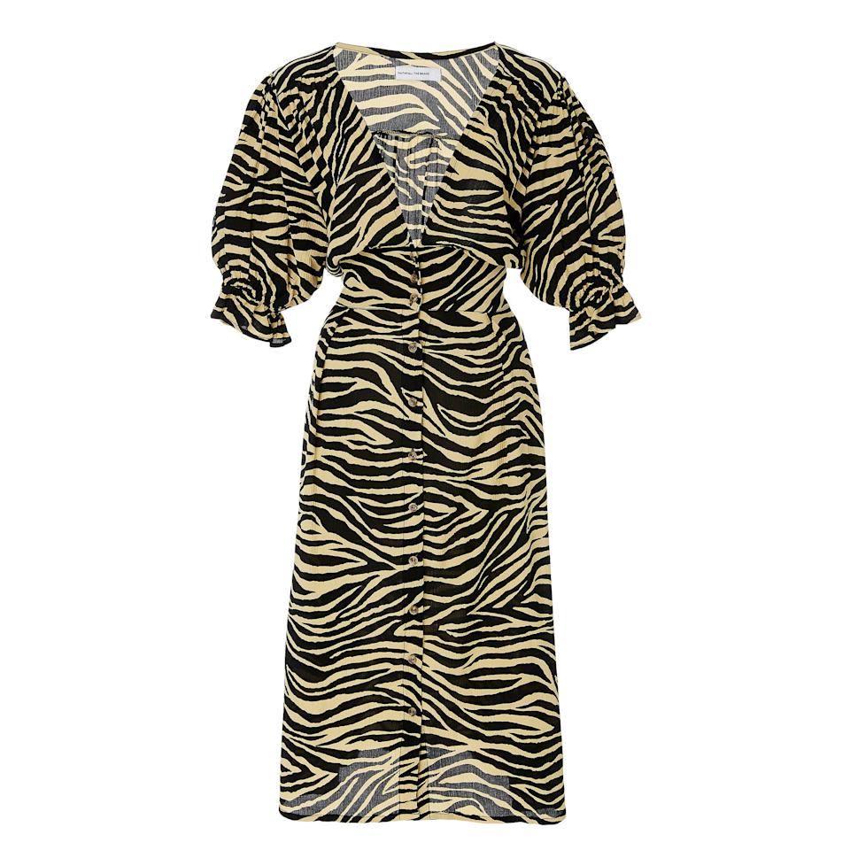 """<p>From cult favorite, Faithfull the Brand, this zebra-printed midi dress is the ideal transitional piece to ease you into the Fall season. With its puffed sleeves and mid-length hem, you can count on this number to shield you from the first signs of fall temperatures, however unwelcoming they may be.</p> <p><strong>Buy now:</strong> Faithfull the Brand dress, $200, <a href=""""https://www.modaoperandi.com/faithfull-pf19/rafa-printed-crepe-midi-dress"""">modaoperandi.com</a></p>"""
