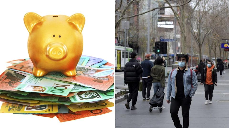 Pictured: Australian cash, piggy bank, pedestrians. Images: Getty