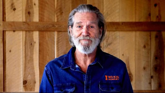 Actor Jeff Bridges is shown here in a screen shot from the PSA he delivered in his efforts to help the charity No Kid Hungry continue to raise funds in spite of the coronavirus epidemic and shutdown. Credit: No Kid Hungry.