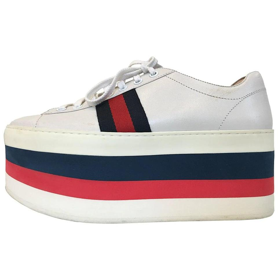 <p>Yes really, these vintage <span>Gucci Peggy Trainers</span> ($361), with their hefty platform and all, are still popular for resale. Vestiaire counts the Screener, Rhyton, and Ace as popular silhouettes too.</p>