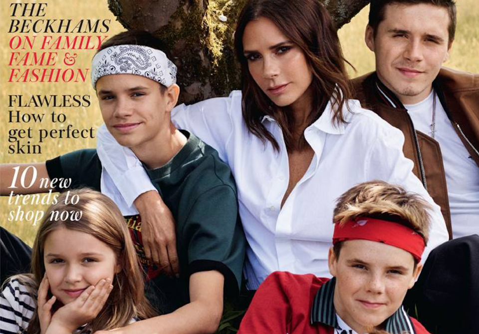 The Beckhams cover British Vogue's October issue. [Photo: Vogue]
