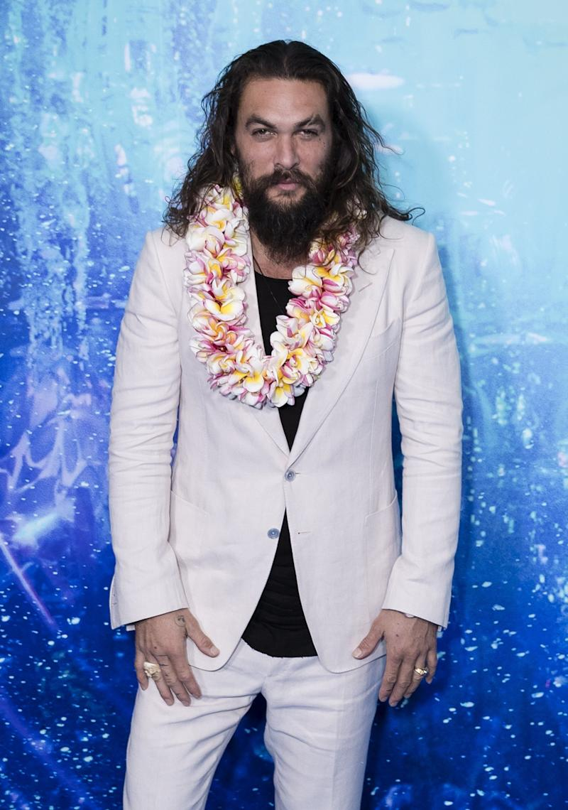 Momoa wearing a lei in Sydney at an Aquaman fan event in December, 2018.