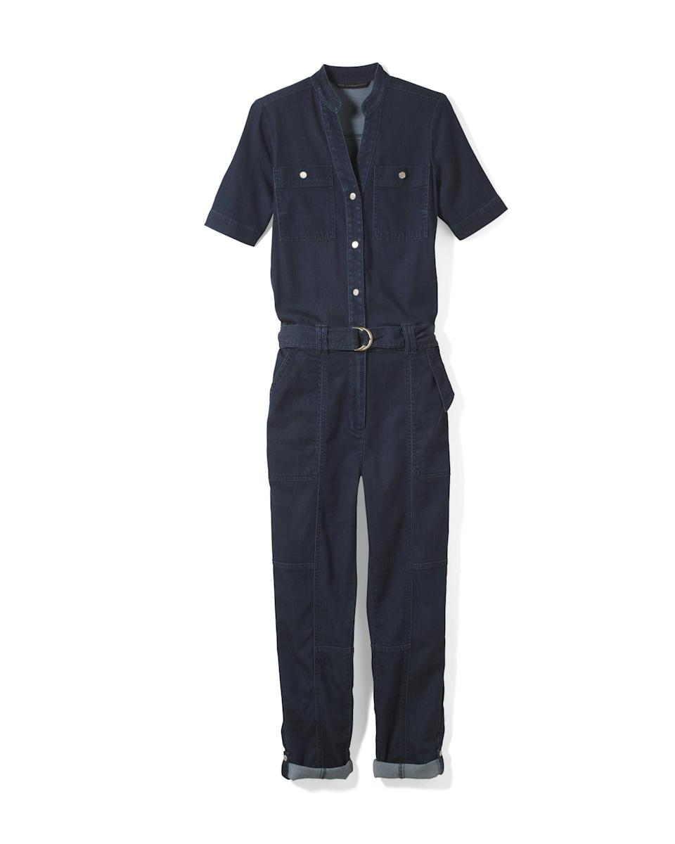 <p>Jumpsuits are a seasonless item. The fit on this <span>White House Black Market Soft Denim Cropped Jumpsuit</span> ($85) is next level and the fabric is so soft, you'll never want to take it off. </p>