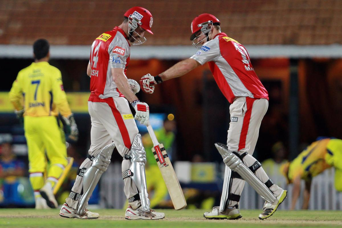 David Miller congratulates Shaun Marsh on scoring his half century during match 45 of the Pepsi Indian Premier League between The Chennai Super Kings and the Kings XI Punjab held at the MA Chidambaram Stadium in Chennai on the 2nd May 2013. Photo by Jacques Rossouw-IPL-SPORTZPICS    .. .Use of this image is subject to the terms and conditions as outlined by the BCCI. These terms can be found by following this link:..https://ec.yimg.com/ec?url=http%3a%2f%2fwww.sportzpics.co.za%2fimage%2fI0000SoRagM2cIEc&t=1490280349&sig=_mSKv8BQ2mZTB0oJ18Kbvg--~C