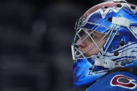 Colorado Avalanche goaltender Jonas Johansson stands near the net during the third period of the team's NHL hockey game against the Los Angeles Kings on Thursday, May 13, 2021, in Denver. (AP Photo/Jack Dempsey)