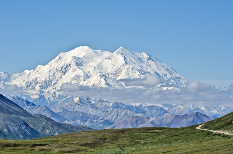 View of Mount McKinley in Denali National Park, Alaska, with Park Road in the foreground leading to it. (elmvilla via Getty Images)