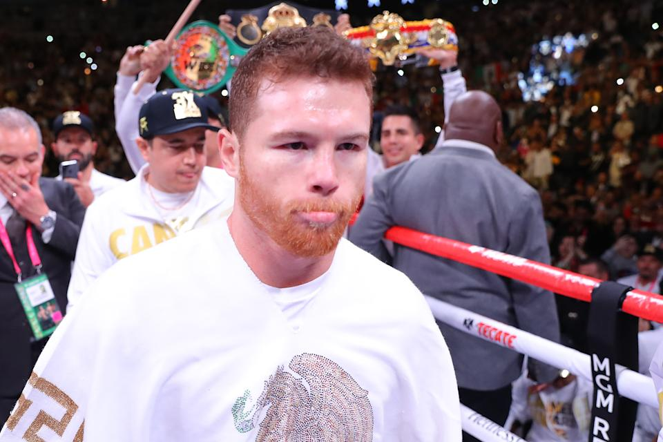 LAS VEGAS, NEVADA - MAY 04:  Canelo Alvarez waits in the ring prior to his middleweight unification fight against Daniel Jacobs at T-Mobile Arena on May 04, 2019 in Las Vegas, Nevada. (Photo by Tom Hogan/Golden Boy/Golden Boy/Getty Images)