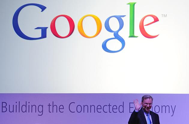 CEO of google Eric Schmidt during a presentation.