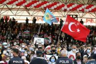 People attend a ceremony marking the 37th anniversary of the Declaration of Independence of the Turkish Republic of Northern Cyprus in northern Nicosia