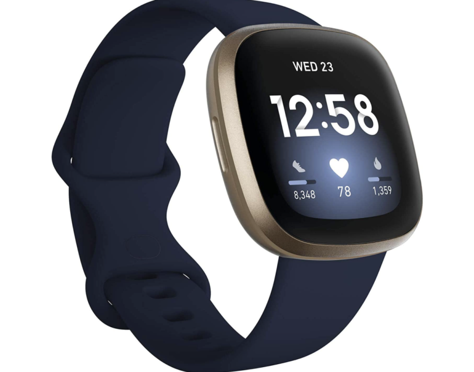 PHOTO: Amazon. Fitbit Versa 3 Health & Fitness Smartwatch with GPS, 24/7 Heart Rate, 6+ Days Battery, Midnight Blue/Gold