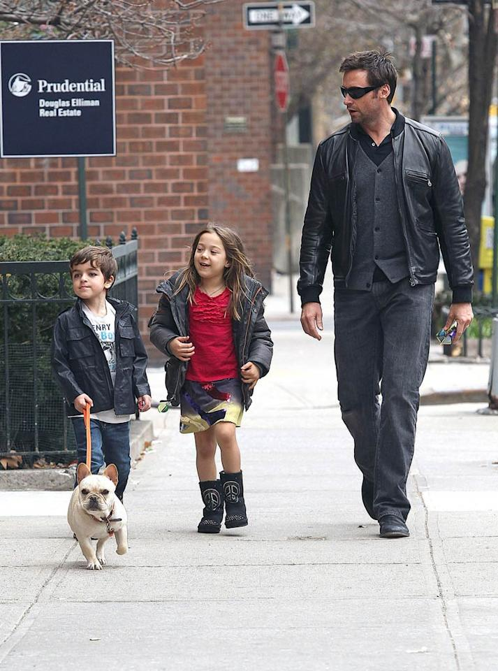 """Also hanging out in NYC over the weekend were Hugh Jackman, his daughter Ava, and her playmate for the day, Mariska Hargitay's son August. Hugh played chaperone as the kids took Ava's French bulldog Peaches for a walk around the neighborhood. Wagner Az/<a href=""""http://www.pacificcoastnews.com/"""" target=""""new"""">PacificCoastNews.com</a> - April 10, 2011"""
