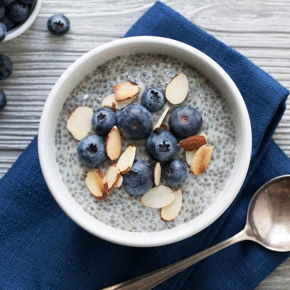 <p>Switch up your morning oatmeal routine with this so-easy chia pudding recipe. It's made just like overnight oats--combine chia and your milk of choice, let soak overnight, then top with juicy blueberries and crunchy almonds and dig in!</p>