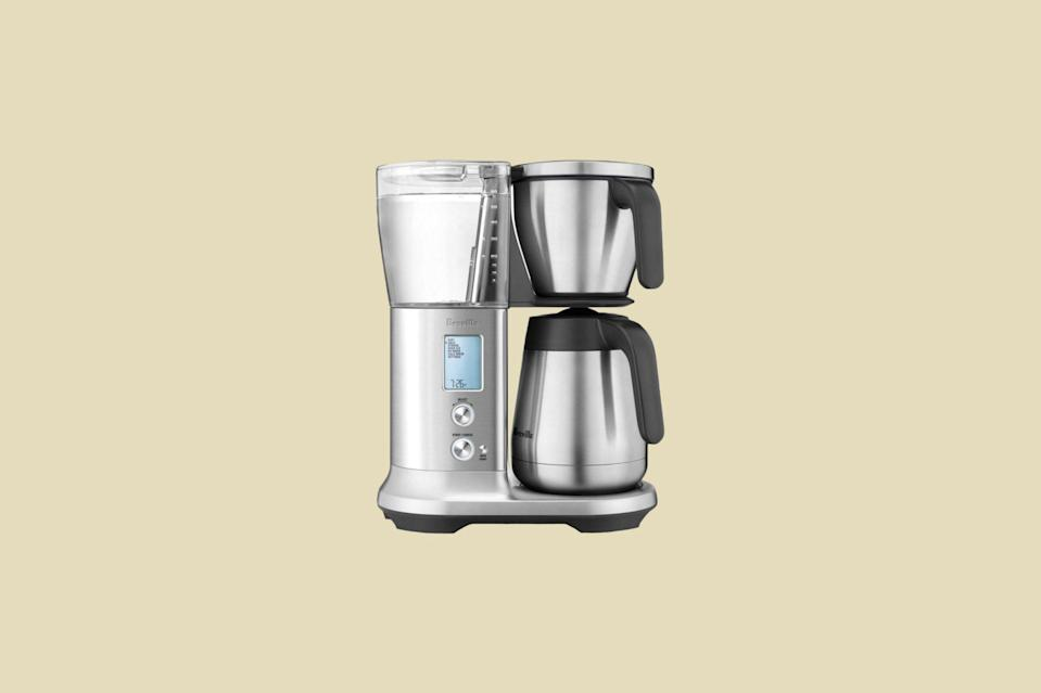 """<p>A precision powerhouse, this 60 ounce drip coffee maker has six different brewing modes, including strong, <a href=""""https://www.marthastewart.com/1541168/what-difference-iced-coffee-cold-brew"""" rel=""""nofollow noopener"""" target=""""_blank"""" data-ylk=""""slk:cold brew"""" class=""""link rapid-noclick-resp"""">cold brew</a>, and """"My Brew,"""" which gives you control over the bloom time, brewing temperature, flow rate, and contact time—all factors that add up to a delicious cup of coffee. </p> <p><strong><em>Buy Now</em></strong><em>: Breville Precision Brewer Thermal Drip Coffee Maker, $299.95, <a href=""""https://www.amazon.com/Breville-BDC450-Precision-Brewer-Thermal/dp/B078RQVQF1/ref=as_li_ss_tl?ie=UTF8&linkCode=ll1&tag=mslhomecoffeemakersourpicksrgollinsep20-20&linkId=2ae34adc3bb517c3ca3f35de8eec3b5c&language=en_US"""" rel=""""nofollow noopener"""" target=""""_blank"""" data-ylk=""""slk:amazon.com"""" class=""""link rapid-noclick-resp"""">amazon.com</a>.</em></p>"""