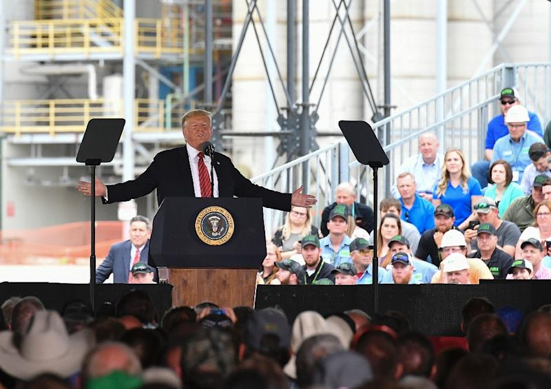 """US President Donald Trump went to Iowa to tout his record on the economy, while calling his current main Democratic rival Joe Biden """"sleepy"""" and """"dummy"""" (AFP Photo/MANDEL NGAN)"""
