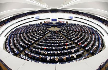 Members of the European Parliament take part in a voting session in Strasbourg, France, February 13, 2019. Picture taken with a fisheye lens. REUTERS/Vincent Kessler
