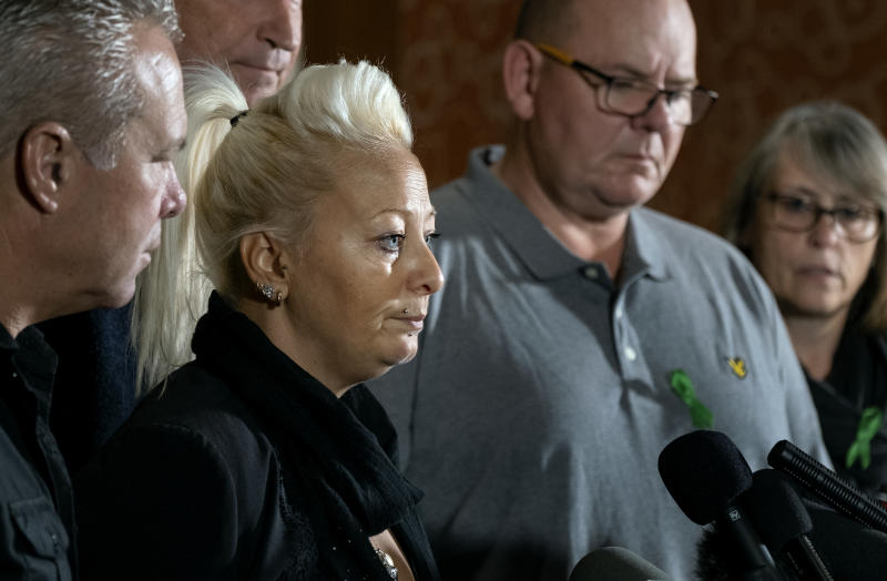 Charlotte Charles, mother of Harry Dunn, who died after his motorbike was involved in an August 2019 accident in Britain with Anne Sacoolas, wife of an American diplomat, speaks at a news conference as she is joined by family members and supporters Monday, Oct. 14, 2019, in New York. The family is seeking answers after Sacoolas returned to the United States after being granted diplomatic immunity following the crash. (AP Photo/Craig Ruttle)