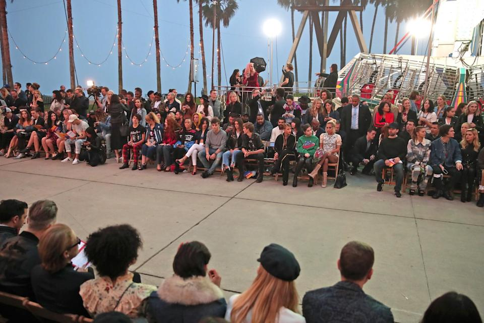<p>An audience of hundreds waited patiently for the show to begin, running about half an hour behind the scheduled 8 p.m. PST start time. (Getty Images) </p>