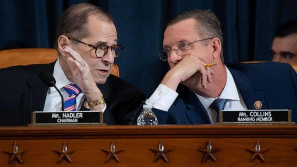 PHOTO: House Judiciary Chairman Jerrold Nadler speaks with Ranking Member Doug Collins during a House Judiciary Committee hearing on Capitol Hill in Washington, Dec. 4, 2019. (Saul Loeb/AFP via Getty Images)